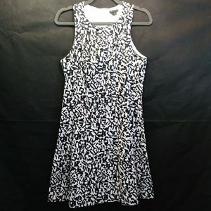 THEORY Black & White Print Eyelet Dress Size 8